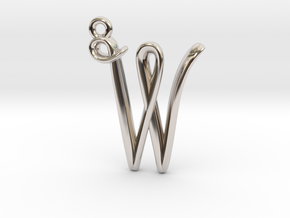 W Initial Charm in Rhodium Plated Brass
