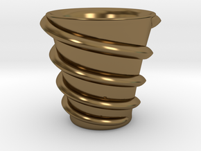 Maelstrom cup (Twin stream) in Polished Bronze