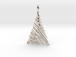 Christmas Tree Pendant Style 1 in Rhodium Plated Brass