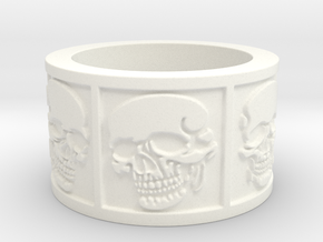 Skulls Ring Size 8 in White Processed Versatile Plastic
