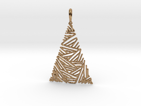 Christmas Tree Pendant 3 in Polished Brass