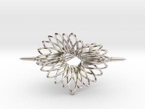 Spinner Floral Tri Twist - 7cm in Platinum