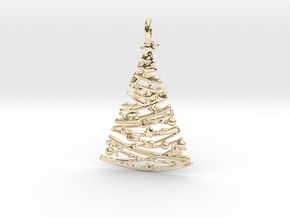 Christmas Tree Pendant 4 in 14k Gold Plated Brass