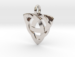 Celtic Knot Necklace Pendant (Inverted Triquetra) in Platinum