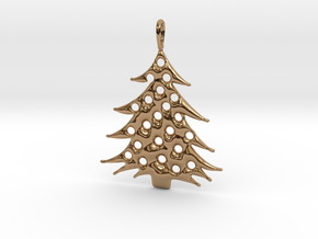 Christmas Tree Pendant 5 in Polished Brass