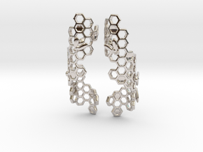 Bees and Honeycomb Earrings in Rhodium Plated Brass