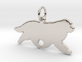 Newfoundland dog silhouette pendant 3d printed  in Rhodium Plated Brass
