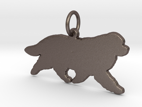 Newfoundland dog silhouette pendant 3d printed  in Polished Bronzed Silver Steel