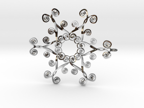Suessish Snow Flake - 7cm in Fine Detail Polished Silver