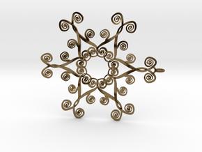 Suessish Snow Flake - 7cm in Polished Bronze
