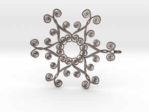 Suessish Snow Flake - 7cm in Polished Bronzed Silver Steel