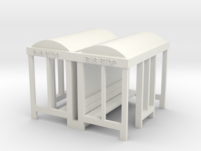 Bus Stop - HO 87:1 Scale Qty (2) in White Natural Versatile Plastic