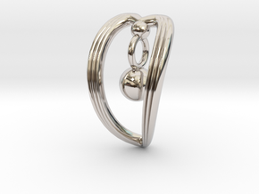 Curved Sweetheart in Rhodium Plated Brass
