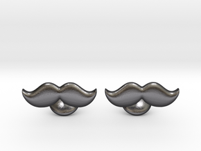 Moustache Cufflinks in Polished Grey Steel