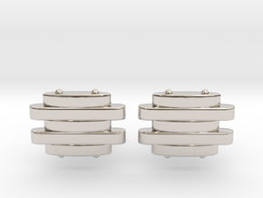 Strap Cufflinks in Rhodium Plated Brass