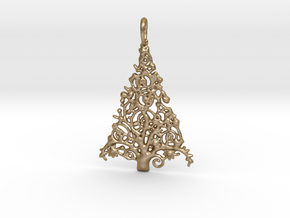 Christmas Tree Pendant 7 in Polished Gold Steel