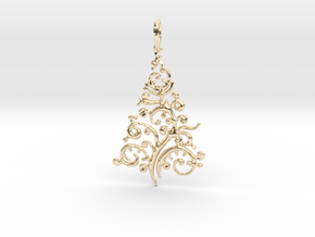 Christmas Tree Pendant 8 in 14k Gold Plated Brass