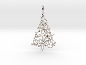 Christmas Tree Pendant 8 in Rhodium Plated Brass