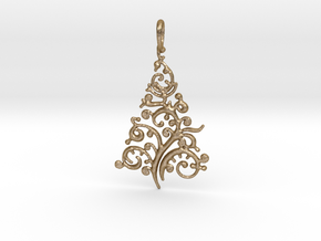 Christmas Tree Pendant 8 in Polished Gold Steel