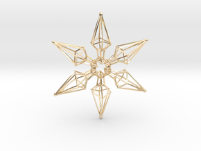 6 Point Ninja Star - 7cm in 14K Yellow Gold