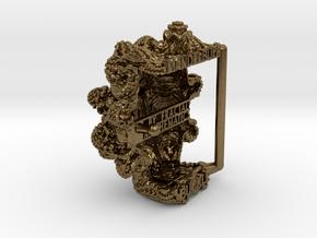 Mandelbulb Belt Buckle - Precious Metal version in Natural Bronze