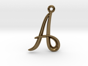 A Initial Charm in Polished Bronze