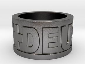 Deus Vult Plain Ring Size 10 in Polished Nickel Steel