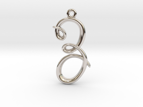 Z Initial Charm in Rhodium Plated Brass