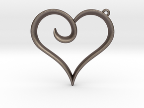The Heart Pendant in Polished Bronzed Silver Steel
