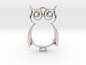 The Owl Pendant in Rhodium Plated Brass