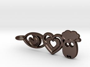 It's Only Love Pendant or Keychain in Matte Bronze Steel