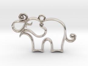 Tiny Elephant Charm in Platinum