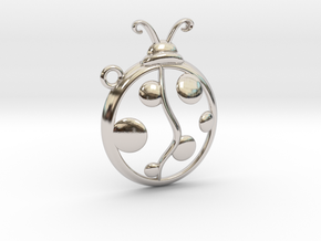 The Ladybug Pendant in Rhodium Plated Brass