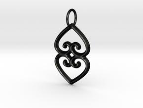ASASE YE DURU (Adinkra Symbol of Mother Earth) in Matte Black Steel