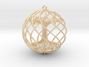 Tree Xmas Ball in 14k Gold Plated Brass