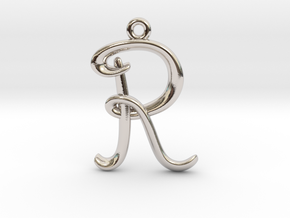 R Initial Charm in Rhodium Plated Brass