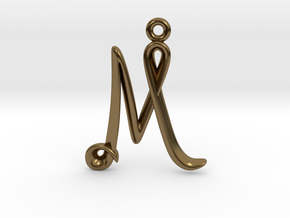 M Initial Charm in Polished Bronze