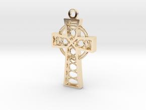 "Celtic Cross 1.5"" in 14k Gold Plated Brass"