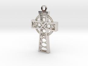 "Celtic Cross 1.5"" in Rhodium Plated Brass"