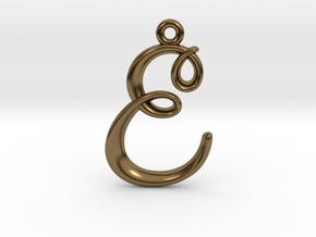 E Initial Charm in Polished Bronze