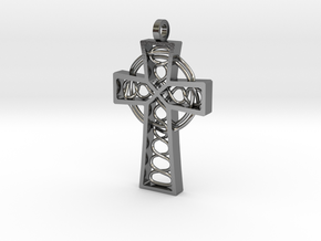 """Celtic Cross 2.25"""" in Polished Silver"""