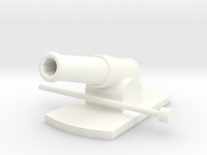 Miniature Metal Functional Cannon in White Processed Versatile Plastic