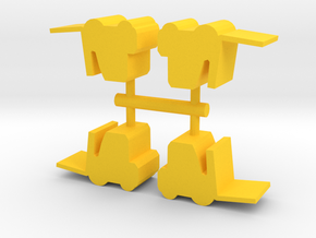 Game Piece, Forklift 4-set in Yellow Strong & Flexible Polished