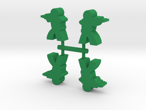 Game Piece, Rifle Soldier, 4-set in Green Processed Versatile Plastic