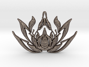 Lotus Pendent in Polished Bronzed Silver Steel