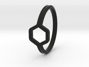 A-LINE Honey Ring H.02, US size 6, d=16,5mm  in Black Natural Versatile Plastic: 6 / 51.5