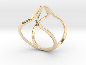 """YOUNIVERSAL """"Kiss me if you can"""" US size 3, d=14mm in 14k Gold Plated Brass: 3 / 44"""