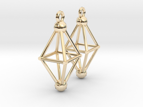 Octahedron Earrings in 14k Gold Plated
