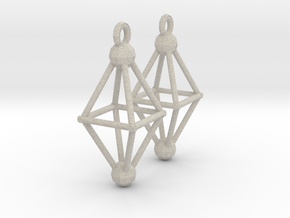 Octahedron Earrings in Natural Sandstone