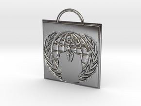 Anonymous logo keychain in Fine Detail Polished Silver